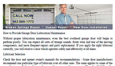 How to Provide Garage Door Lubrication Maintenance in Pico Rivera
